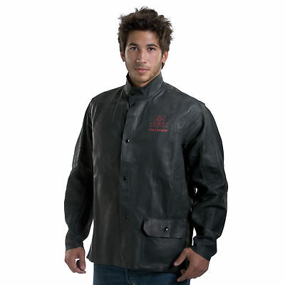 "50/""-52/"" Blacksmith XXL Grey  Chrome Leather Jacket for Welder"