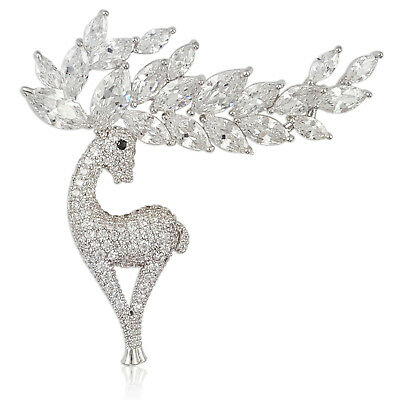 HIGH QUALITY CRYSTAL CHRISTMAS REINDEER BROOCH PIN MADE WITH SWAROVSKI ELEMENTS