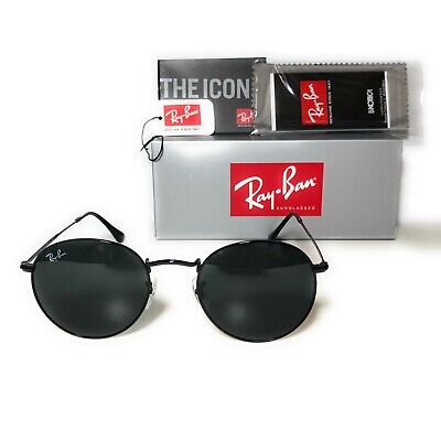 Ray-Ban Round Metal Black Sunglasses RB3447 002/62 50mm Brand (Rayban Round Metal)