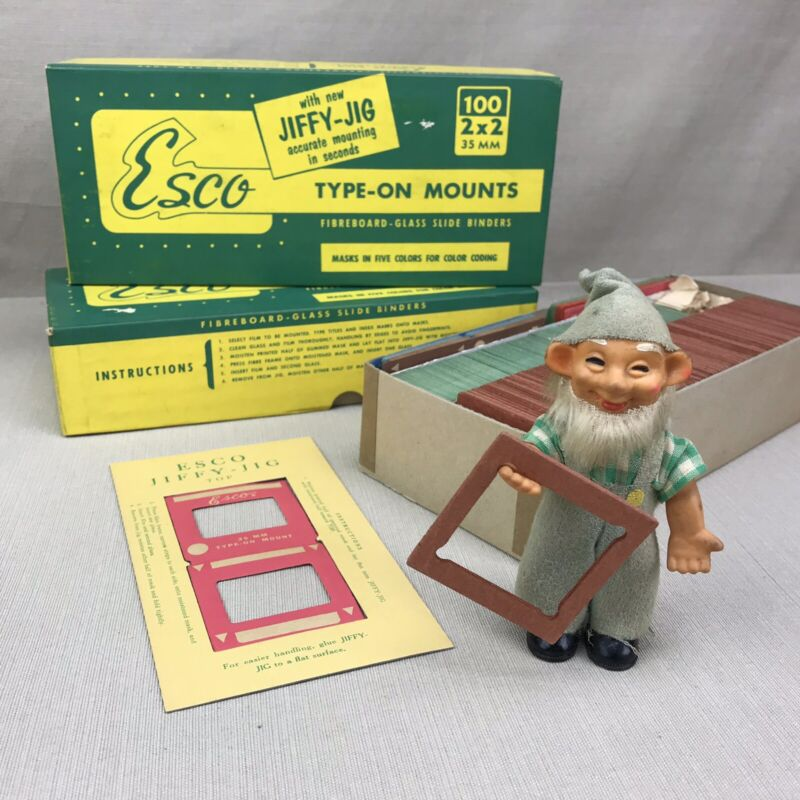 ESCO 35mm Glass Fiberboard Slide Binder Type-On Mounts Vintage