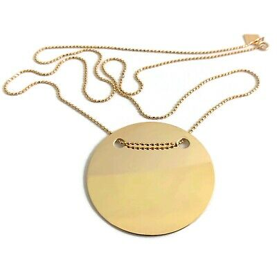 GINETTE NY Large Disc Circle Pendant Necklace 14K 18K Yellow Gold, 6.19 Grams