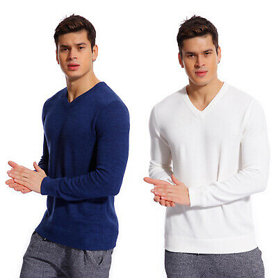 Copperside Men Top Cotton Ribbed Trim Cotton V-Neck Sweater Long Sleeve -