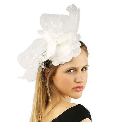 Fancy Standing Fishnet Floral Ribbon Headband Fascinator Millinery Church White