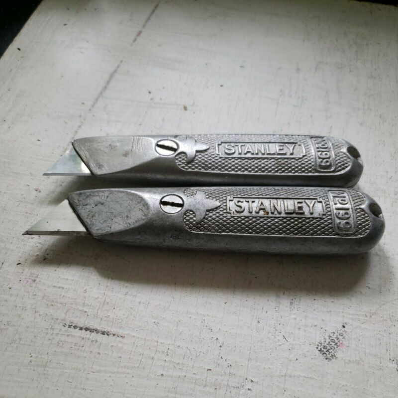 LQQK-2 Early Aluminum Stanley  No.199 Fixed Blade Utility Knifes-Made In USA-