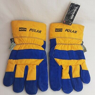 North Polar Leather Thinsulate Insulation Work Gloves Blackcuff Waterproof Large