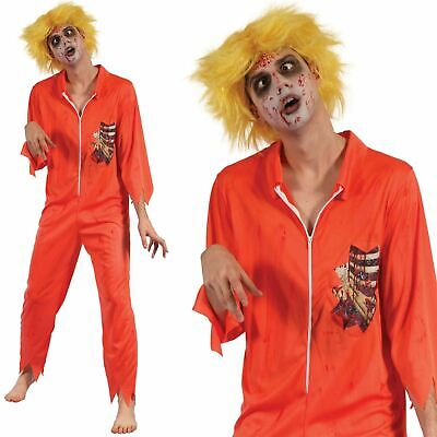 Zombie Halloween Costume Male (Adult Zombie Convict Costume Male Prisoner Halloween Mens Fancy Dress Outfit)