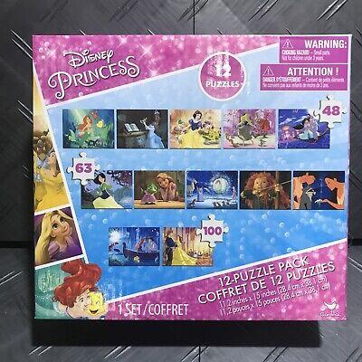 New Disney Princess Movies 12 Puzzle Pack Snow White Ariel Kids Free Shipping