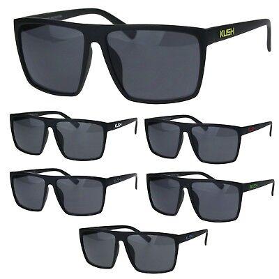 Mens Kush Classic Thin Plastic Flat Top All Black Gangster (All Plastic Sunglasses)