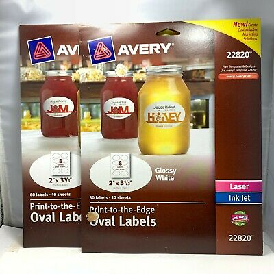 Avery Oval Labels Print-to-the-edge80 Labels -10 Sheetsglossy White Lot Of 2