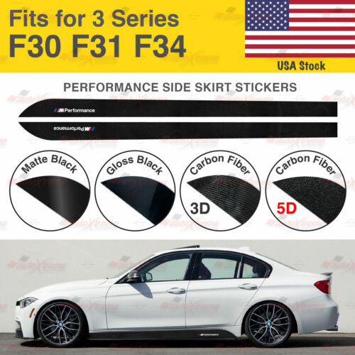 For BMW F30 F31 F34 3 Series M Performance Side Skirt Vinyl Decal Stickers US