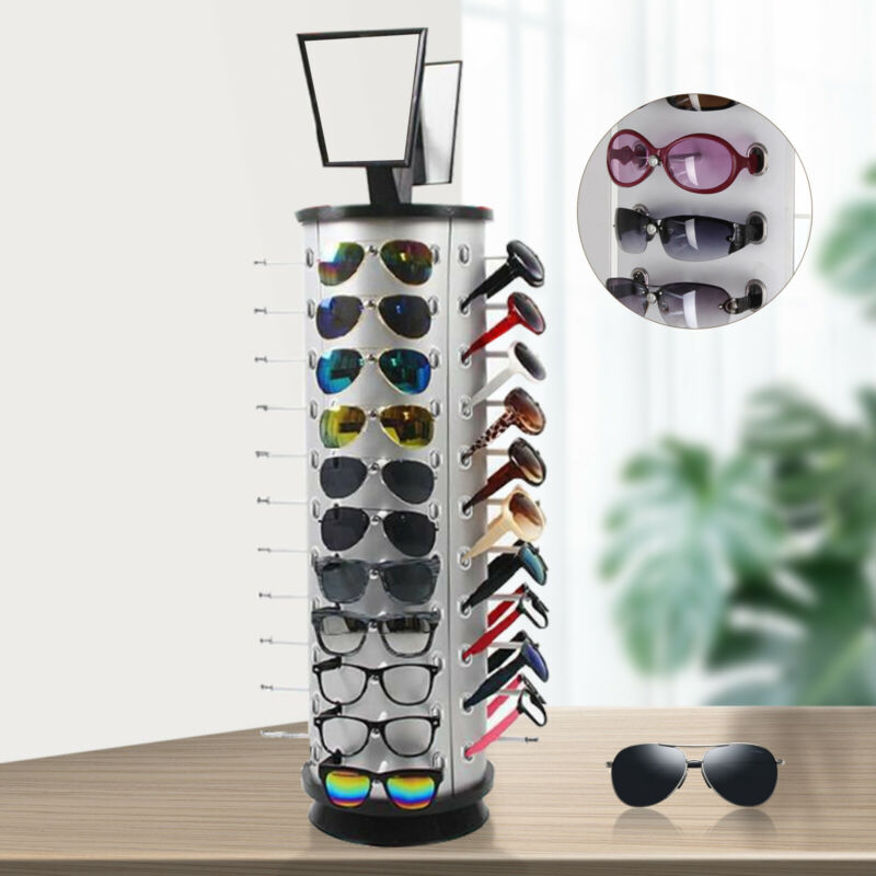 360° Rotating Sunglass Display Rack Metal Glasses Stand Holder +Mirror 44 Pairs
