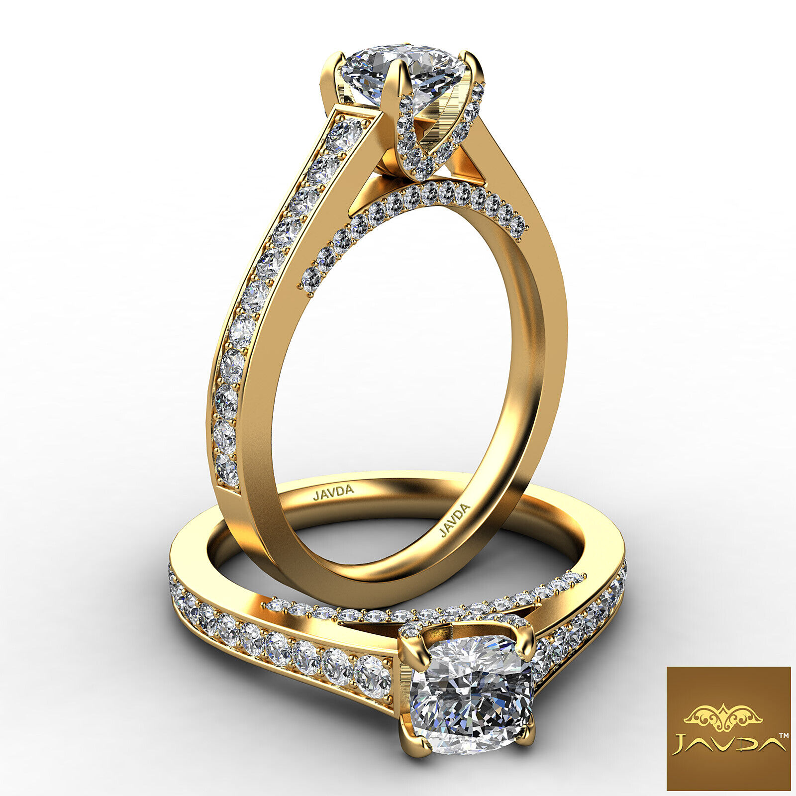 Cushion Cut Diamond Flawless Engagement GIA G VVS2 Pave Set Ring Platinum 1.25Ct 4