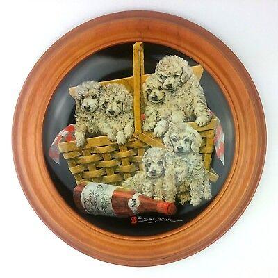 Sally Miller Poodle Picnic Litter Basket Plate Van Hygan & Smythe Wood Frame