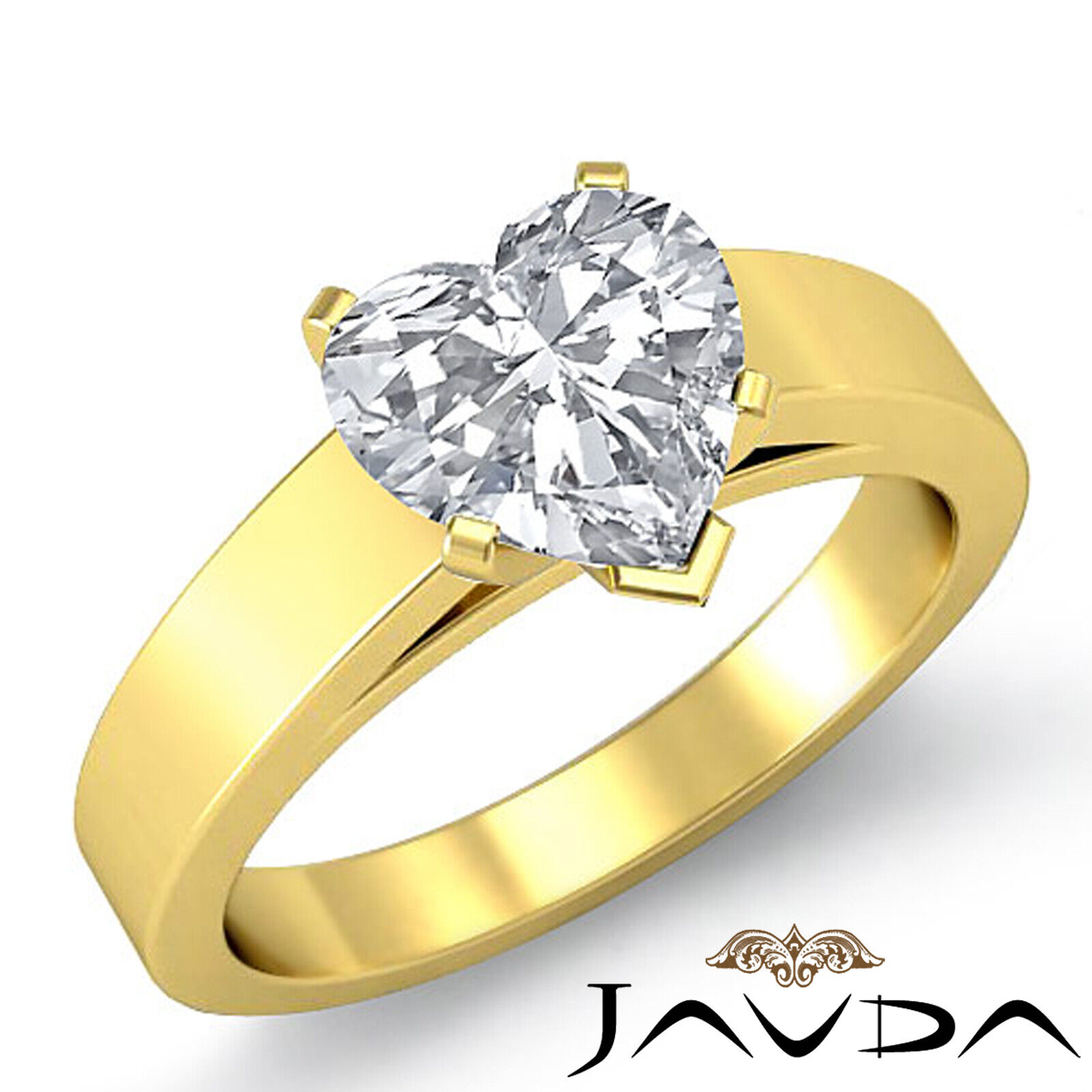 Heart Diamond Engagement GIA H VS2 4 Prong cathedral Solitaire Gold Ring 1.2 ct. 1