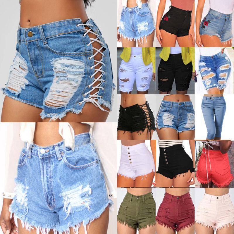 Damen Hot Pants Hotpants Jeans Shorts Kurze Hose Sommerhose Capri Freizeithosen