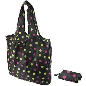 Polka Dot Pattern Fold Up Reusable Eco Shopping Bag In Pouch With Belt Clip