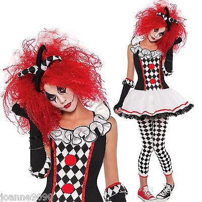 NEU Teenager Mädchen Damen Harlekin Honig Hofnarr Clown Halloween Kostüm