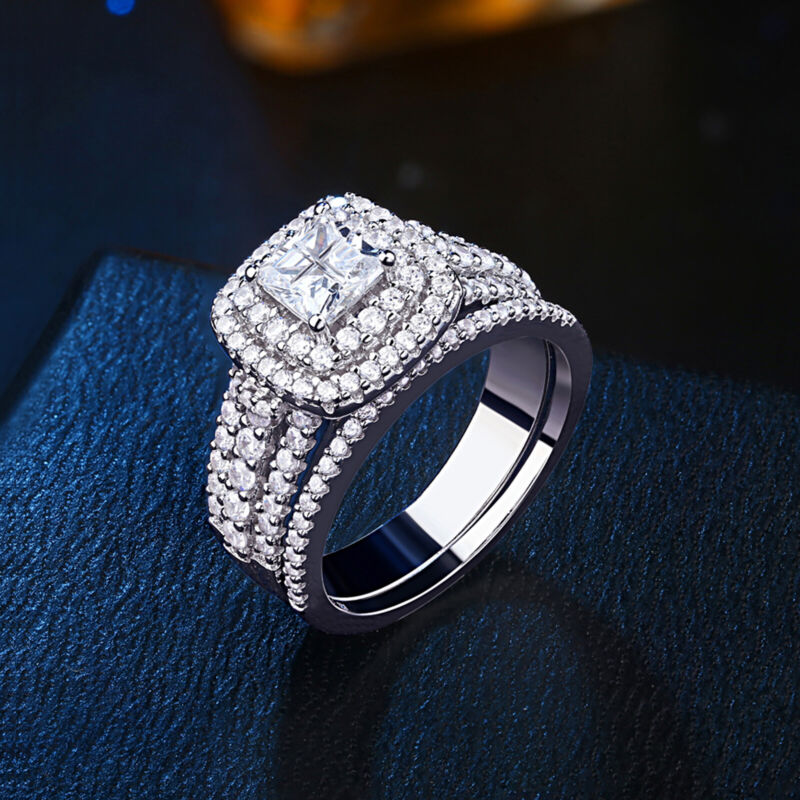 Engagement Wedding Ring Set For Women Princess Cut White 925 Sterling Silver Cz