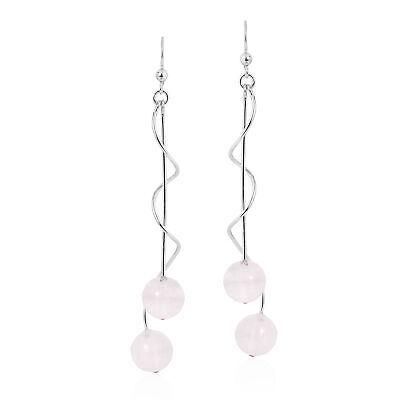 Elegant Sterling Silver Spiral w/ Round Pink Quartz Stones Dangling Earrings
