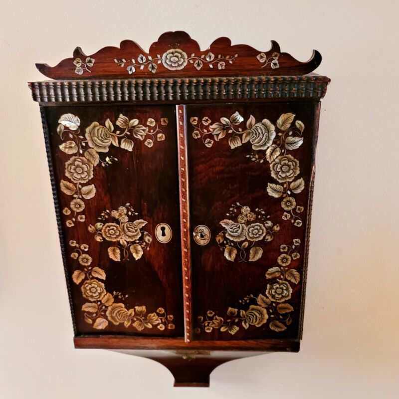 ANTIQUE European Napoleon Style MOP Marquetry Hanging Key Cabinet
