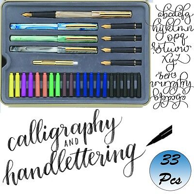 (Calligraphy Pen Set Starter Kit Letters Ink Cartridge Practice Pad Included)