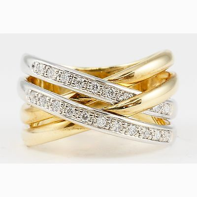 14k Two-Tone Yellow & White Gold Criss Cross Overlap 4 Bands Round Diamond Ring 14k Two Tone Gold Overlapping