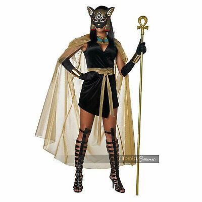 Adult Womens Egyptian Cat Goddess Bastet Halloween Costume Dress Belt Mask Cuffs