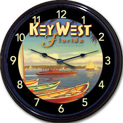 Key West Florida Buffett Margaritaville Poster Wall Clock Beach Hemingway 10