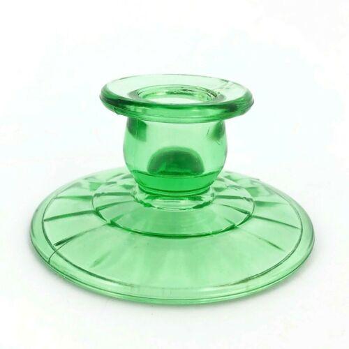 Vintage Block Optic Green Depression Glass Candleholder Taper Anchor Hocking