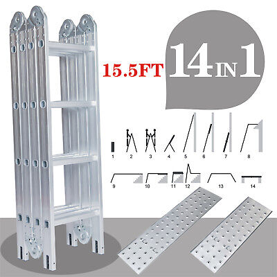 Multi-purpose Aluminum Ladder 15.5 Ft Telescopic Folding Extendable Scaffold
