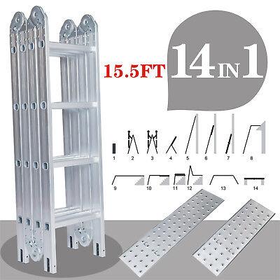 Multi-purpose Aluminum Ladder 15.5 Ft Telescopic Folding Extendable Scaffold