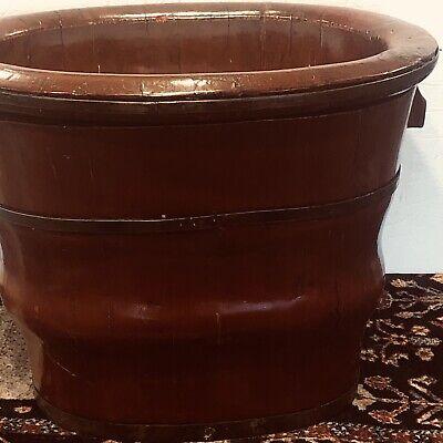 Antique Chinese Soft Wood Red Enamel Baby Bath Circa 1880 Qing Dynasty
