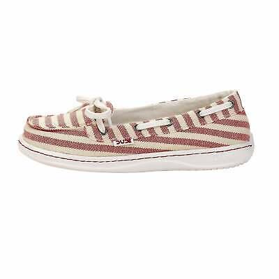 Hey Dude Shoes Women/'s Moka Classic Beige Textile Boat//Deck Shoes
