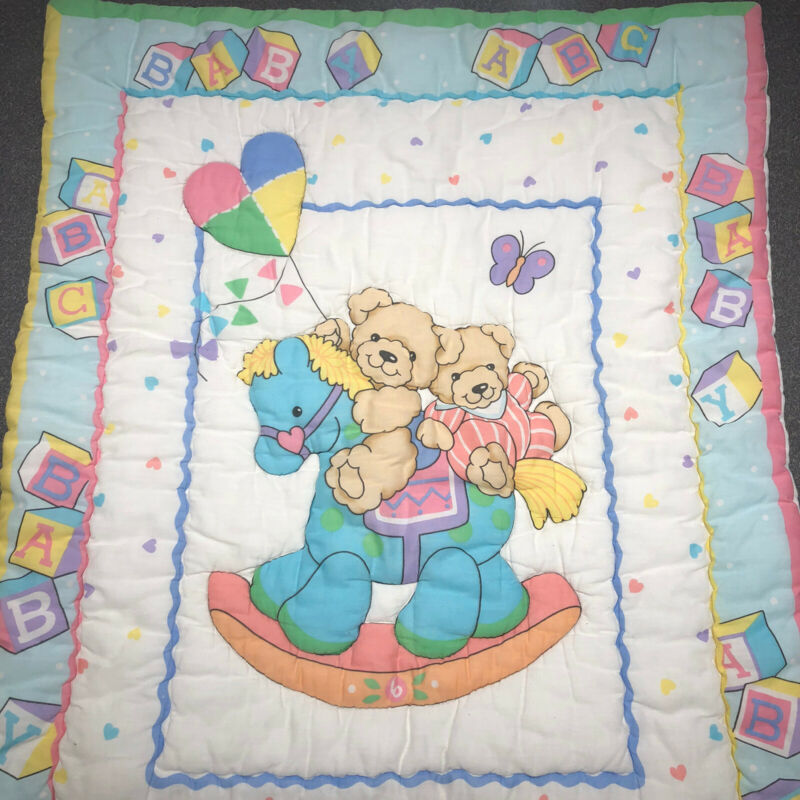 Vintage Little Bedding Baby Crib Comforter Blanket Rocking Horse Bears Blocks