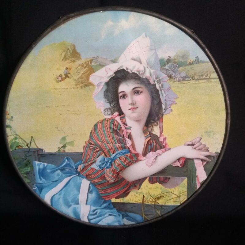 Antique Victorian Lithograph Oval Flue Cover Farmers Daughter.