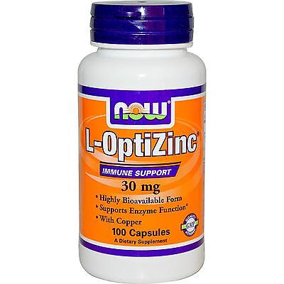 NOW FOODS OPTIZINC - 100 x 30mg CAPS - COPPER & IMMUNE SUPPORT AID L-OPTI ZINC