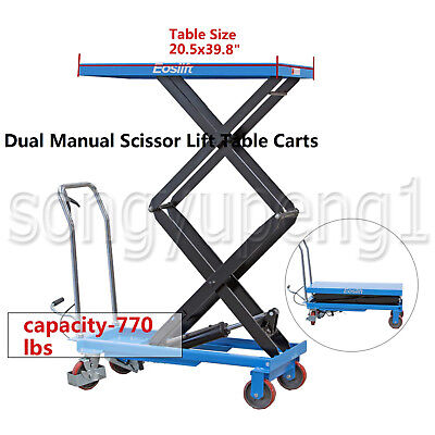 Eoslift Tad35 Hydraulic Dual Manual Scissor Lift Table Cart 770lbs 20.5x39.8 Us