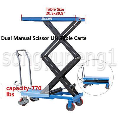 Eoslift Tad35 Hydraulic Dual Manual Scissor Lift Table Cart 770lbs 20.5x39.8 Us