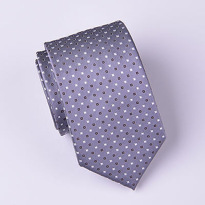 Mens Skinny Tie Grey Contrast Diamond Studs 3