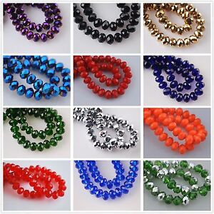 100pcs-Faceted-Glass-Crystal-Rondelle-Spacer-Loose-Beads-6x4mm-Jade-Color-AB