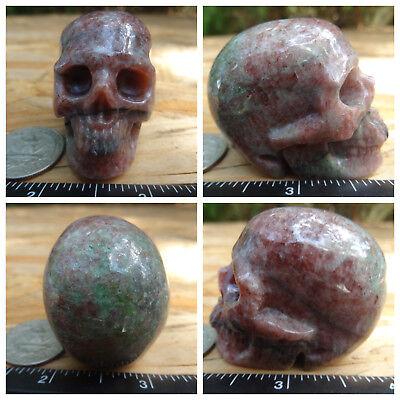 "1.91"" Garnet Skull Carved Stone 126.4g 4.5oz Crystal Healing Realistic"