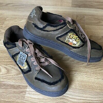 Hardy Tiger Leather (Ed Hardy Tiger 7829 Club Melrose Leather Sneakers Shoes New W/o Box Size 9)