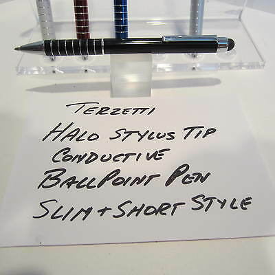 TERZETTI HALO-CT-SLIM/SHORT BLACK BALLPOINT PEN-CONDUCTIVE TOP-USE MINI REFILL Ct Slim Ballpoint Pen