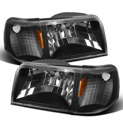For 1993-1997 Ford Ranger 2in1 Style Black Clear Headlights w/ Corner -
