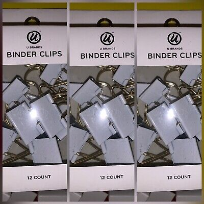 New U Brand Mixed Sizes Binder Clips 12 Ct Each Office Supplies 3 Box