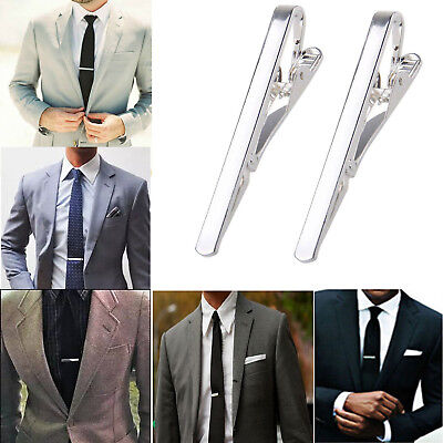 2xMens Metal Steel Tie Clip Chrome Simple Necktie Bar Clasp Practical Plain Pins