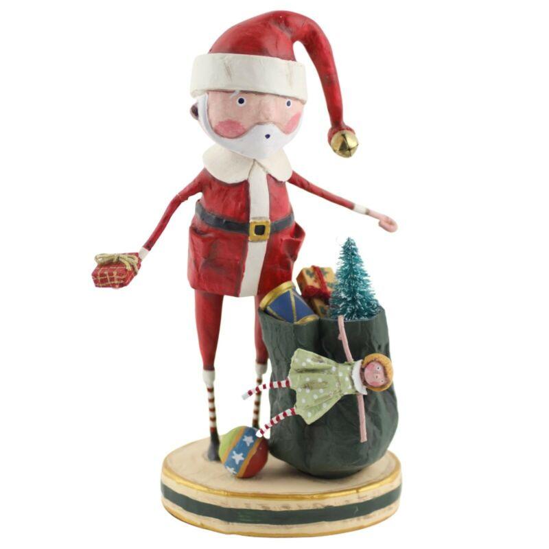 Lori Mitchell Santa and his Sack Christmas Figurine Folk Art Decor