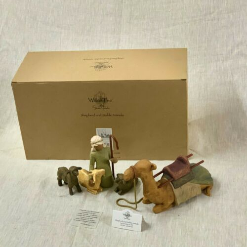 Willow Tree Shepherd and Stable Animals, sculpted hand-painted figure| #26105