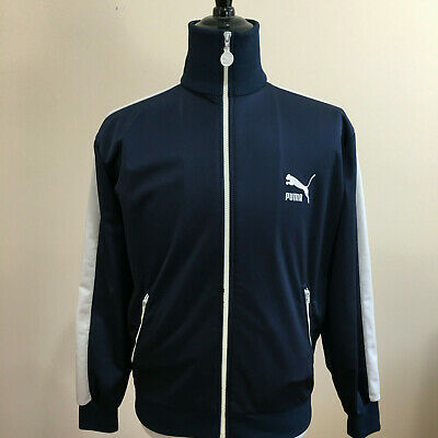 PUMA Men Sport Jacket L Navy and White  Zip Up Zip Pockets Casual Track Athletic