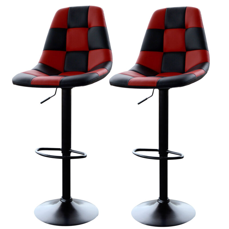 AmeriHome BSRACERSET Red Checkered Racing Bar Chairs - 2 Piece